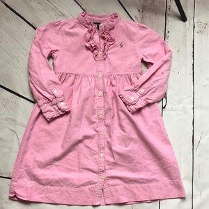 Ralph Lerann pink chambray ruffled dress